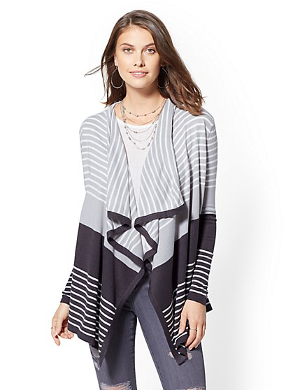 Colorblock Stripe Flyaway Cardigan - New York & Company