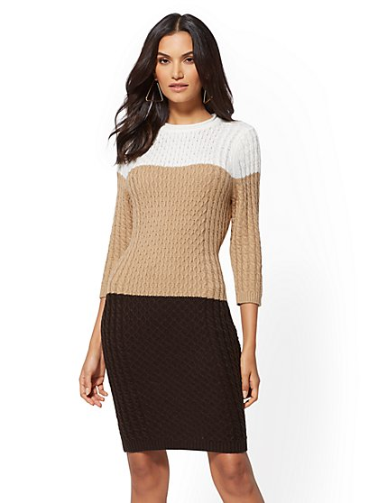 Colorblock Sweater Dress - New York & Company