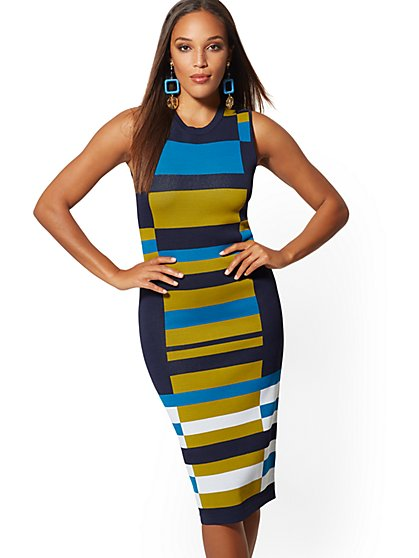 Colorblock Sweater Sheath Dress - New York & Company