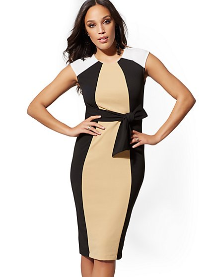 Colorblock Tie-Front Sheath Dress - New York & Company