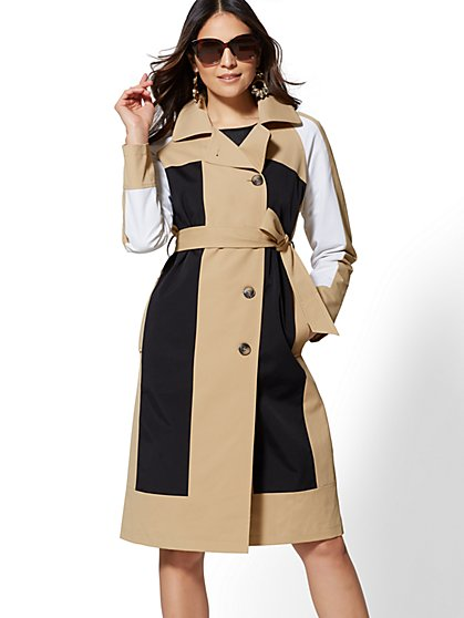 Colorblock Trench Coat - New York & Company