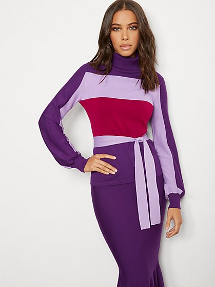 Colorblock Turtleneck Sweater - 7th Avenue - New York & Company