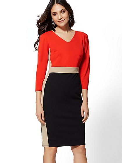 Colorblock V-Neck Sheath Dress - Magic Crepe - 7th Avenue - New York & Company
