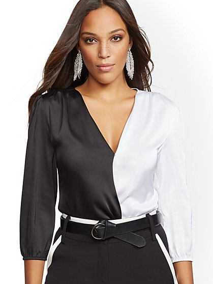 Colorblock Wrap Bodysuit - New York & Company