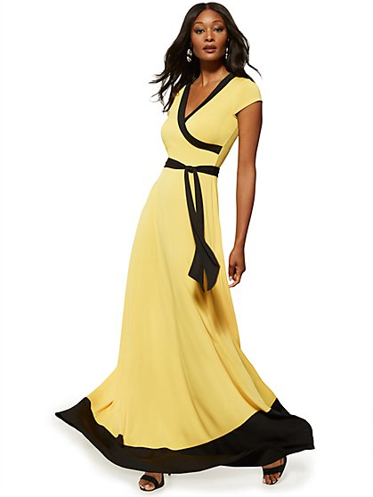 Colorblock Wrap Maxi Dress - New York & Company