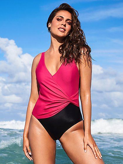 Colorblock Wrap One-Piece Swimsuit - NY&C Swimwear - New York & Company