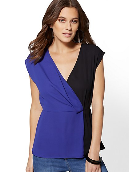 Colorblock Wrap Peplum Blouse - New York & Company