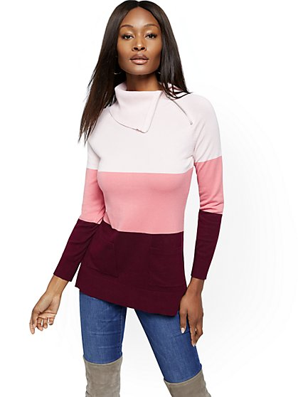 Colorblock Zip-Accent Cowl-Neck Tunic Sweater - New York & Company