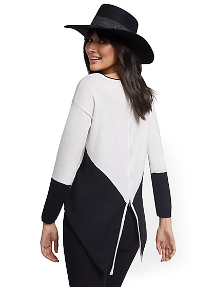Colorblock Zip-Back Sweater - New York & Company