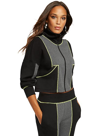 Colorblock Zip-Front Sweatshirt - Gabrielle Union Collection - New York & Company