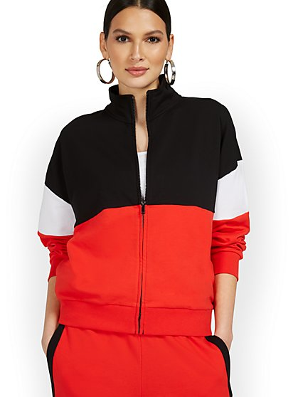 Colorblock Zip-Up Jacket - New York & Company