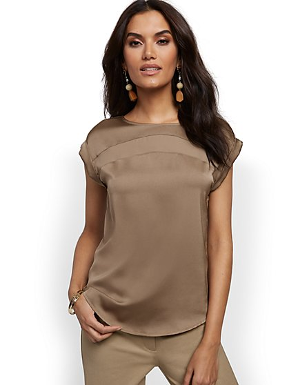 Contrast-Inset Top - 7th Avenue - New York & Company