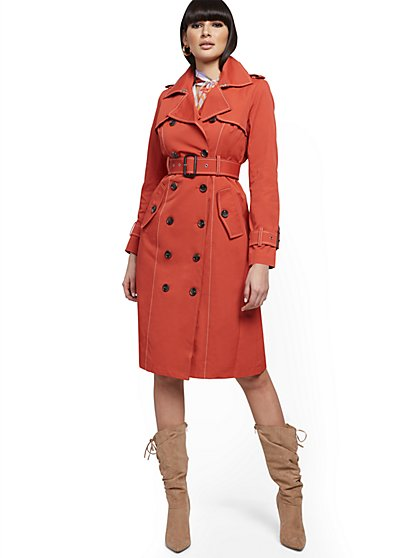 Contrast-Stitch Trenchcoat - New York & Company
