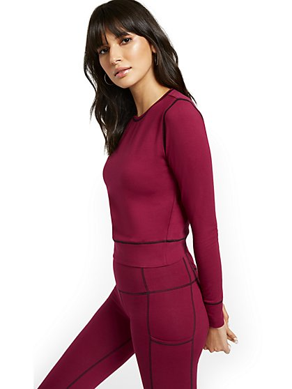 Contrast Stitching Athleisure Yoga Top - New York & Company