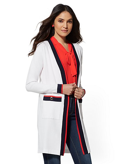 Contrast-Stripe Duster Cardigan - New York & Company