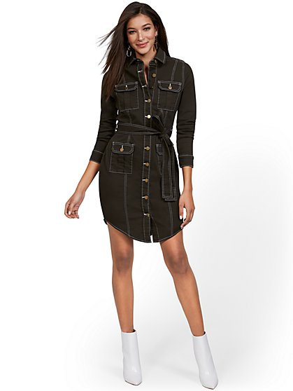 Contrasted Stitch Denim Dress - New York & Company