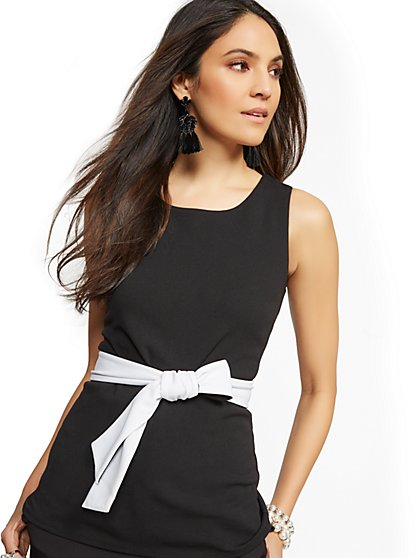 Contrasting Scuba-Crepe Belted Top - New York & Company