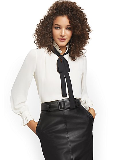 Contrasting Self-Tie Bow Blouse - New York & Company