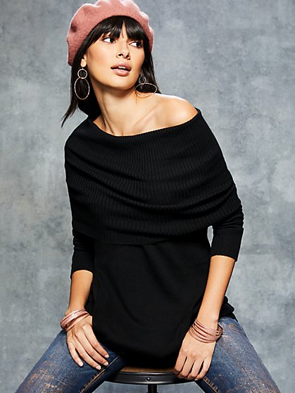 Convertible Tunic Sweater - New York & Company