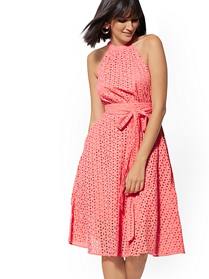 Coral Eyelet Halter Flare Dress - New York & Company