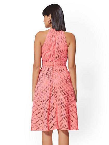 2f52e18e379 ... Coral Eyelet Halter Flare Dress - New York   Company