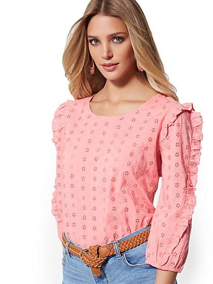 Coral Eyelet Ruffle-Trim Blouse - New York & Company