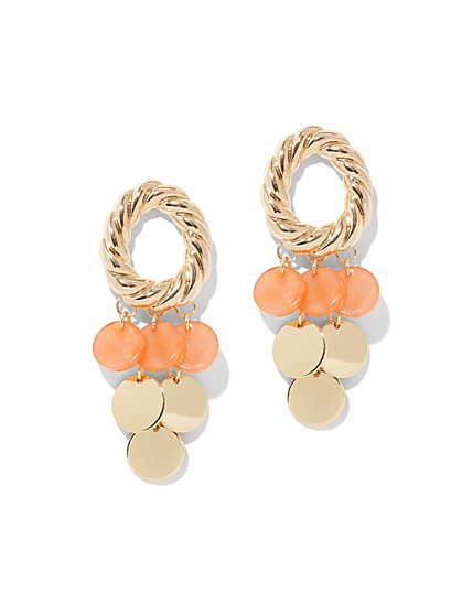 Coral Faux-Stone Statement Drop Earring - New York & Company