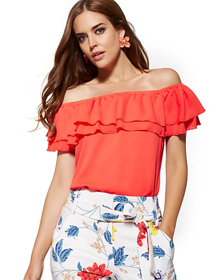 Coral Off-The-Shoulder Blouse - New York & Company
