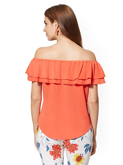9f2d34d45e29 ... Coral Off-The-Shoulder Blouse - New York & Company ...
