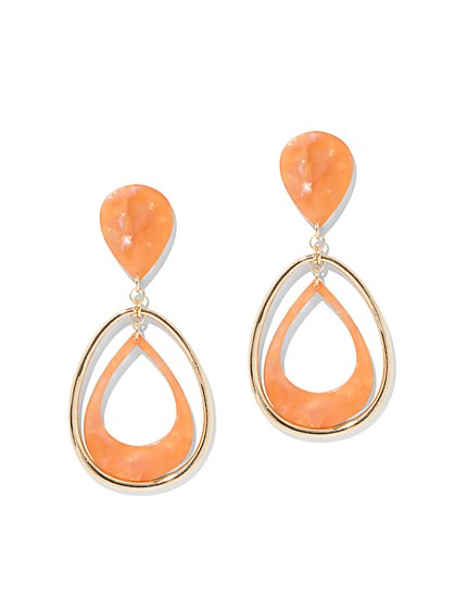 Coral Open Oval Drop Earring - New York & Company