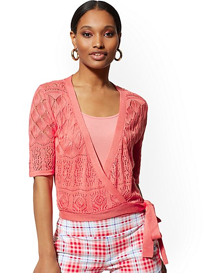 Coral Pointelle-Knit Wrap Cardigan - 7th Avenue - New York & Company