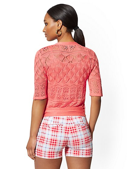 ef5c1157205 ... Coral Pointelle-Knit Wrap Cardigan - 7th Avenue - New York   Company