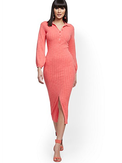 Coral Ribbed Sweater Dress - 7th Avenue - New York & Company