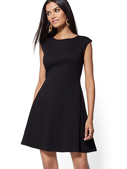 Cotton Bateau-Neck Flare Dress - New York & Company
