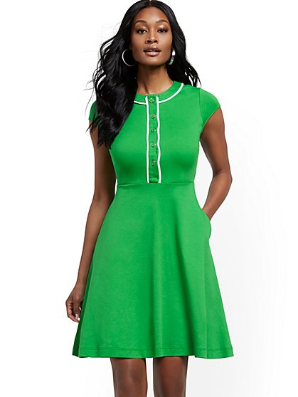 Cotton Button-Accent Fit and Flare Dress - New York & Company