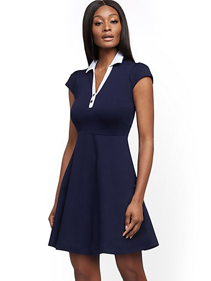 Cotton Collared Fit and Flare Dress - New York & Company