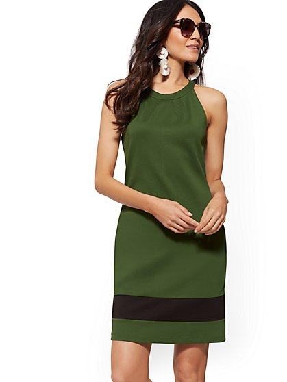 Cotton Colorblock Halter Shift Dress - New York & Company