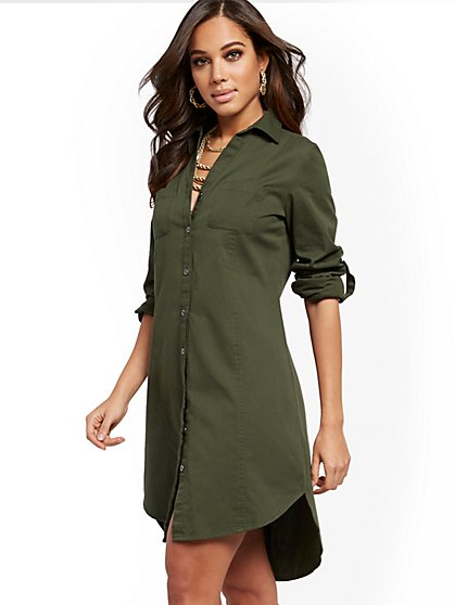 Cotton High-Low Shirtdress - New York & Company