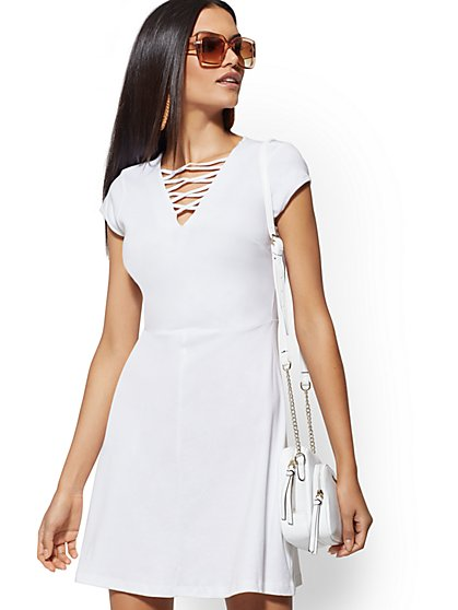 Cotton Lace-Up V-Neck Dress - New York & Company