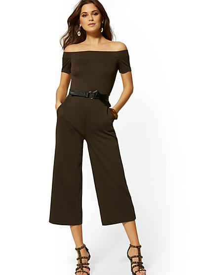 Cotton Off-The-Shoulder Culotte Jumpsuit - New York & Company