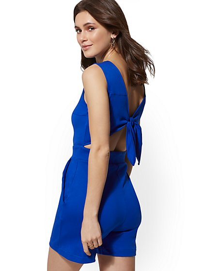 Cotton Sleeveless Tie-Back Romper - New York & Company