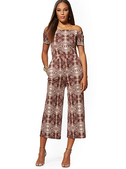 Cotton Snake-Print Off-The-Shoulder Culotte Jumpsuit - New York & Company