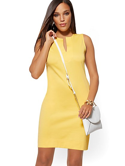 Cotton Split-Neck Shift Dress - New York & Company