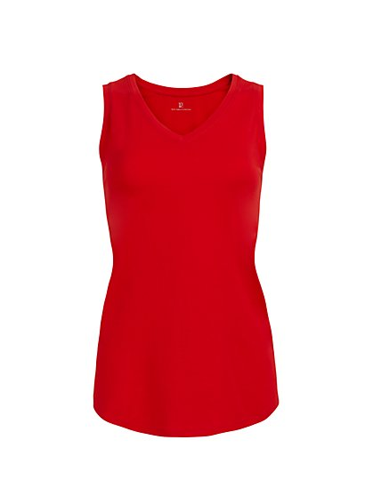 Cotton V-Neck Tank Top - New York & Company