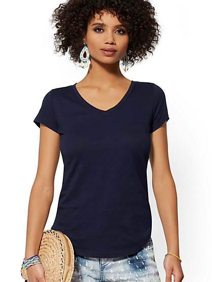 Cotton V-Neck Top - Hampton Tee - New York & Company