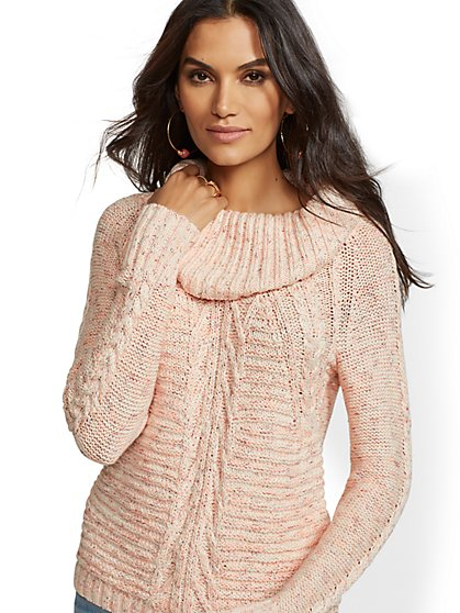 Cowl-Neck Cable-Knit Sweater - New York   Company ... c38f8810b