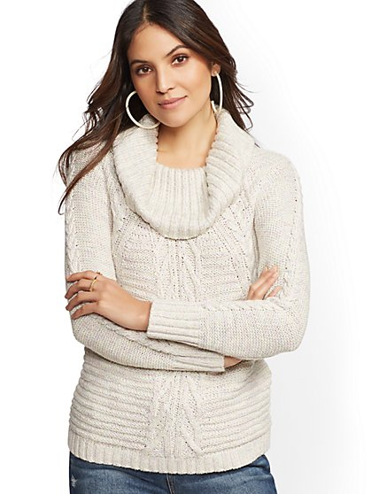 Cowl-Neck Cable-Knit Sweater - New York & Company