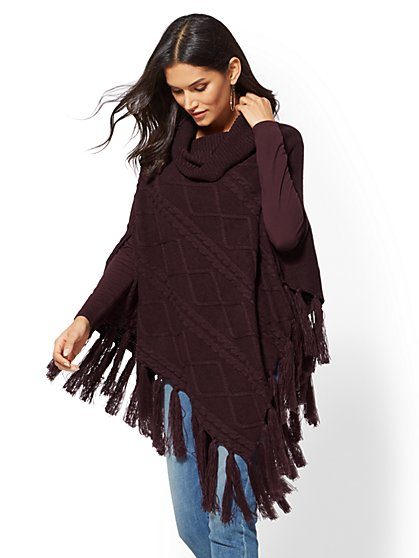 Cowl-Neck Fringe Poncho - New York & Company