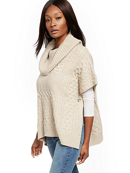 Cowl-Neck Mixed-Stitch Poncho - New York & Company