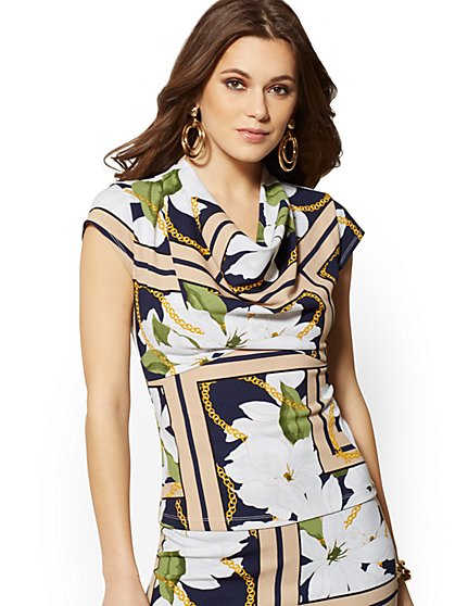 Cowl-Neck Peplum Top - 7th Avenue - New York & Company